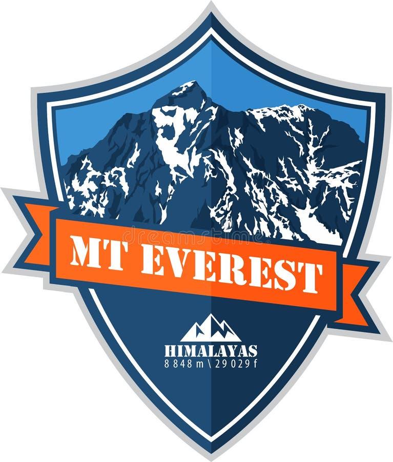 Διανυσματικό λογότυπο βουνών Everest κύκλων Έμβλημα με το υψηλότερο peack στον κόσμο Απεικόνιση ορειβασίας ελεύθερη απεικόνιση δικαιώματος