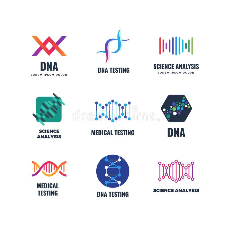 Διανυσματικό λογότυπο γενετικής επιστήμης βιοτεχνολογιών κώδικα DNA Εμβλήματα βιοτεχνολογίας μορίων ελίκων απεικόνιση αποθεμάτων