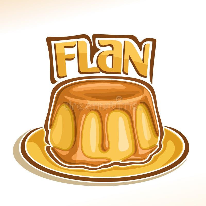 Διανυσματικό λογότυπο για γαλλικό Flan επιδορπίων διανυσματική απεικόνιση