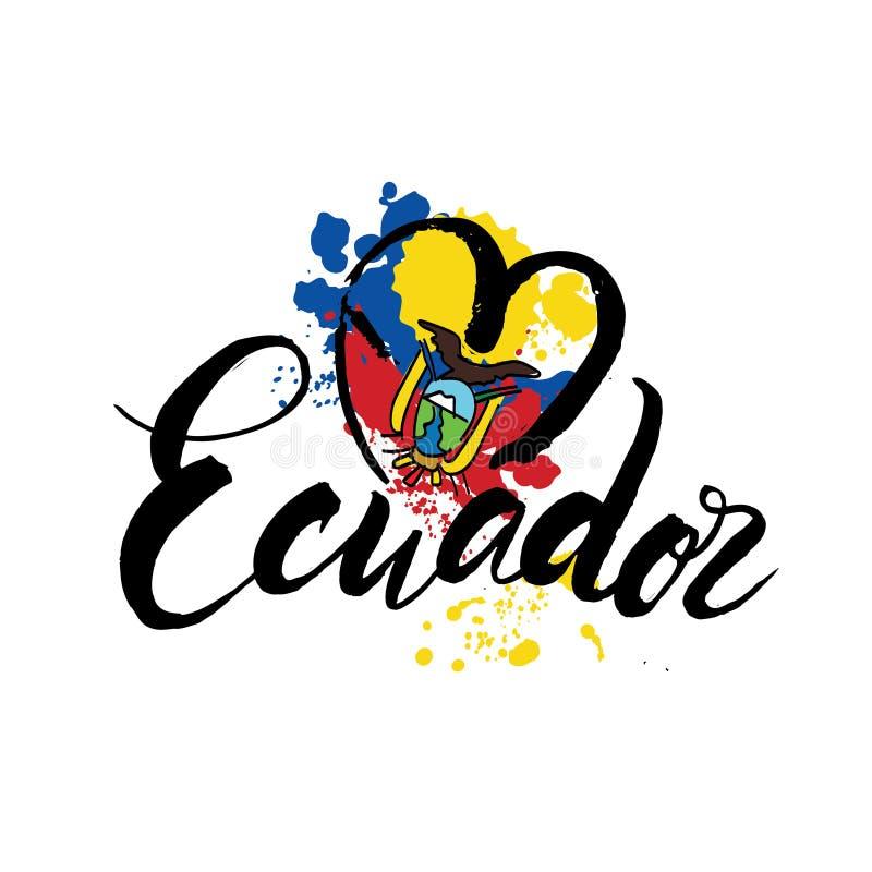 Διανυσματικό λογότυπο για τη χώρα του Ισημερινού, μαγνήτης ψυγείων με την του Εκουαδόρ σημαία, αρχικός χαρακτήρας βουρτσών για τη απεικόνιση αποθεμάτων