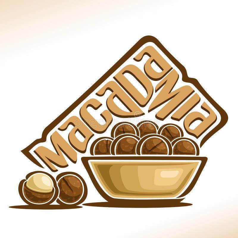 Διανυσματικό λογότυπο για Macadamia το καρύδι διανυσματική απεικόνιση
