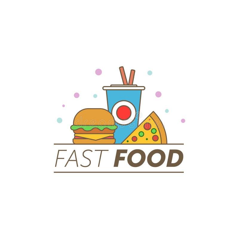 Διανυσματικό λογότυπο γρήγορου φαγητού Γεύμα και εστιατόριο χάμπουργκερ γρήγορου φαγητού, νόστιμο καθορισμένο γρήγορο φαγητό πολύ διανυσματική απεικόνιση