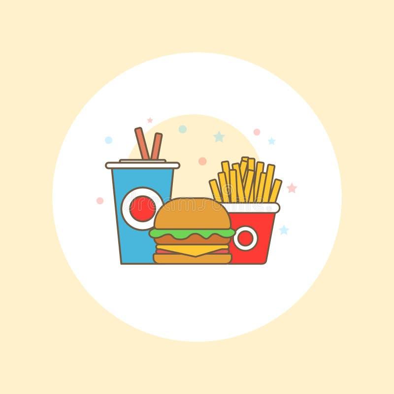 Διανυσματικό λογότυπο γρήγορου φαγητού Γεύμα και εστιατόριο χάμπουργκερ γρήγορου φαγητού, νόστιμο καθορισμένο γρήγορο φαγητό πολύ απεικόνιση αποθεμάτων