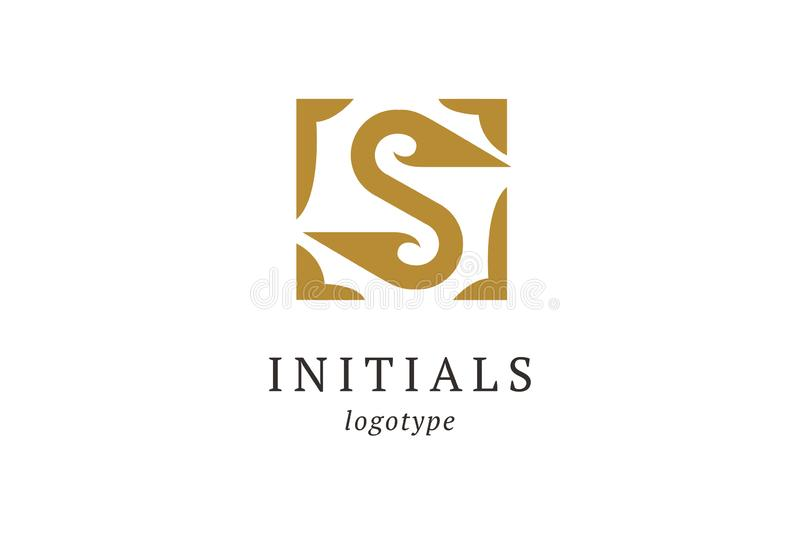 Διανυσματικό λογότυπο γραμμάτων S Εκλεκτής ποιότητας διακριτικά και Logotype Επιχειρησιακό σημάδι, ταυτότητα, ετικέτα, αρχικά δια διανυσματική απεικόνιση