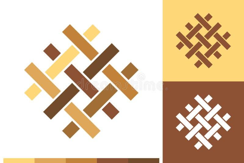 Διανυσματικό λογότυπο, εικονίδιο ή σημάδι με το δάπεδο, παρκέ, φύλλο πλαστικού, κεραμίδια, ξυλουργική, στοιχεία ξυλείας στα φυσικ απεικόνιση αποθεμάτων