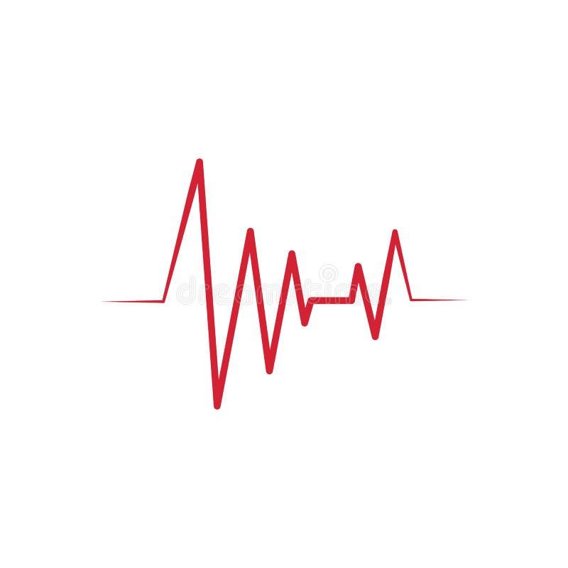 Διανυσματικό λογότυπο εικονιδίων καρδιογραφημάτων κτύπου της καρδιάς ελεύθερη απεικόνιση δικαιώματος