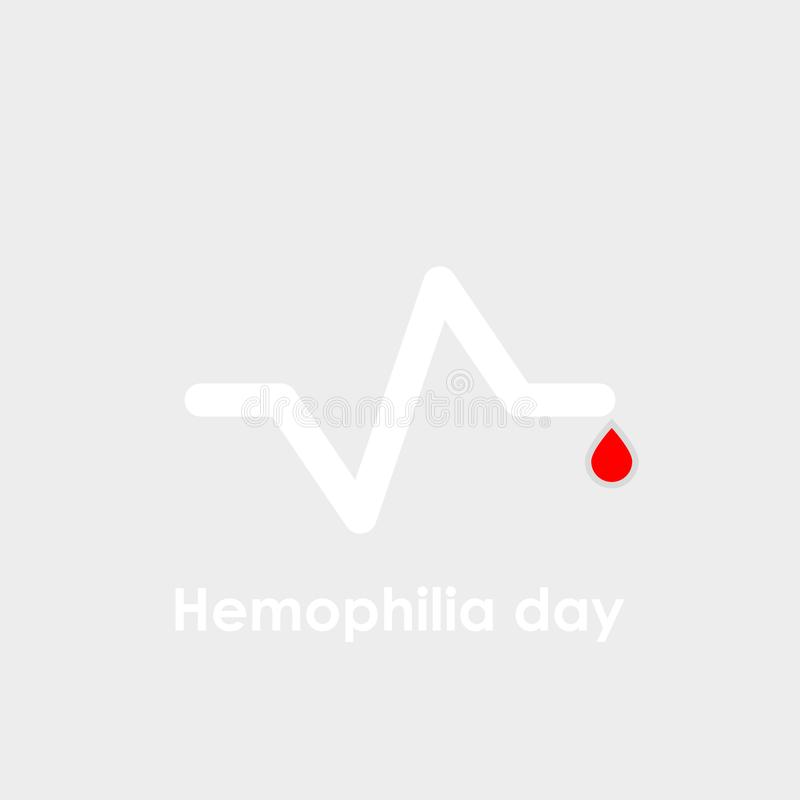 Διανυσματικό λογότυπο ημέρας παγκόσμιας αιμοφιλίας Η καρδιά κτύπησε το καρδιογράφημα διανυσματική απεικόνιση
