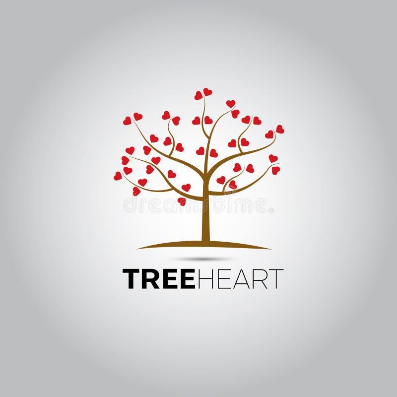 Διανυσματικό λογότυπο καρδιών δέντρων απεικόνιση αποθεμάτων