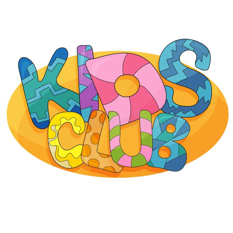 Διανυσματικό λογότυπο κινούμενων σχεδίων λεσχών παιδιών Ζωηρόχρωμες επιστολές φυσαλίδων για το χώρο για παιχνίδη των παιδιών απεικόνιση αποθεμάτων