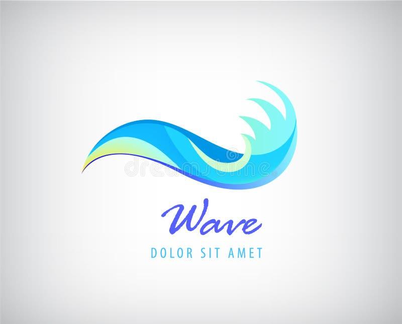 Διανυσματικό λογότυπο νερού, εικονίδιο κυμάτων ελεύθερη απεικόνιση δικαιώματος