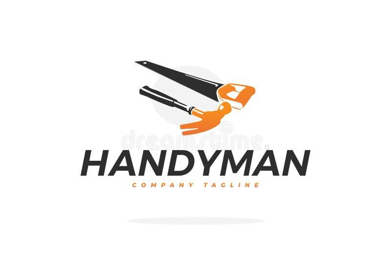 Διανυσματικό λογότυπο ξυλουργικής με το σφυρί και το πριόνι στοκ εικόνα με δικαίωμα ελεύθερης χρήσης