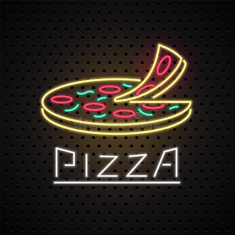 Διανυσματικό λογότυπο, στοιχείο σχεδίου για την πίτσα με το σημάδι νέου διανυσματική απεικόνιση