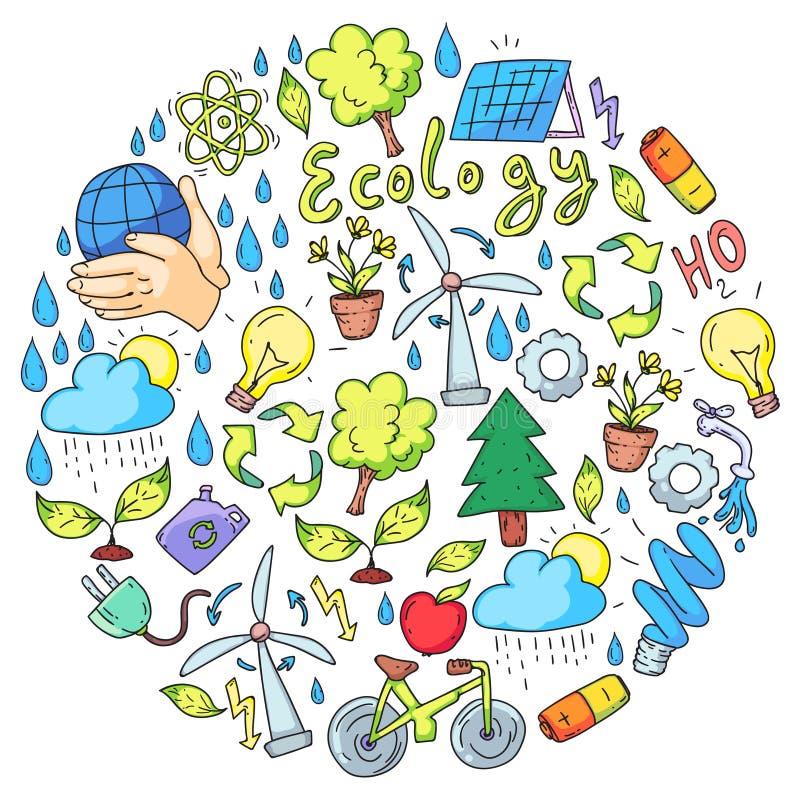 Διανυσματικό λογότυπο, σχέδιο και διακριτικό στο καθιερώνον τη μόδα ύφος σχεδίων - μηά έννοια αποβλήτων, ανακυκλώστε και επαναχρη απεικόνιση αποθεμάτων