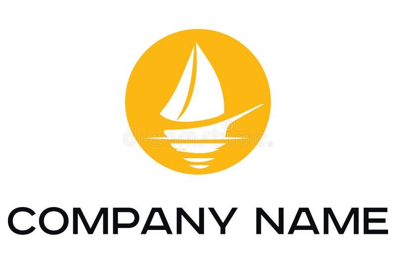 Διανυσματικό λογότυπο της άσπρης βάρκας με τα πανιά ελεύθερη απεικόνιση δικαιώματος