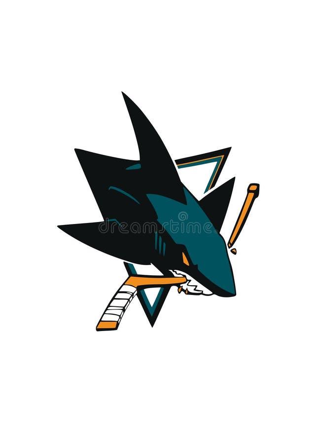 Διανυσματικό λογότυπο των San Jose Sharks που απομονώνεται στο άσπρο υπόβαθρο με τον καρχαρία nhl ελεύθερη απεικόνιση δικαιώματος