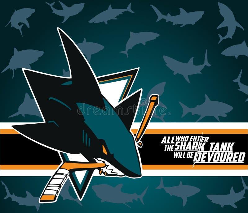Διανυσματικό λογότυπο των San Jose Sharks που απομονώνεται στο γαλαζοπράσινο υπόβαθρο teel nhl διανυσματική απεικόνιση