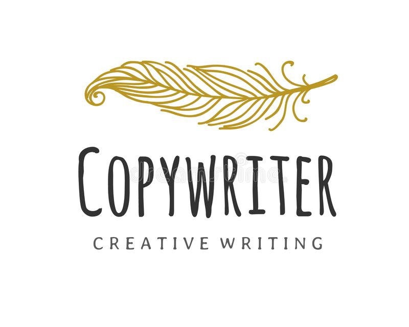 Διανυσματικό λογότυπο Copywriter Καλάμι συγγραφέων logotype διανυσματική απεικόνιση