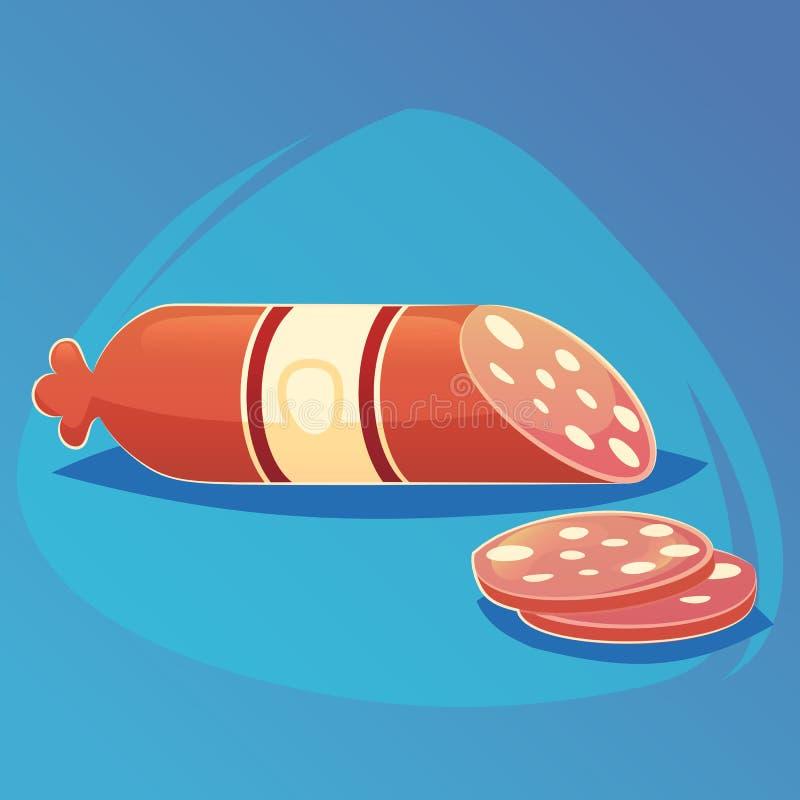 Διανυσματικό λουκάνικο κινούμενων σχεδίων Απομονωμένα φρέσκα τρόφιμα κινούμενων σχεδίων εικονιδίων λιχουδιών ή σχέδιο ιστοχώρου,  ελεύθερη απεικόνιση δικαιώματος