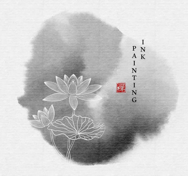 Διανυσματικό λουλούδι λωτού κτυπήματος κύκλων απεικόνισης σύστασης τέχνης χρωμάτων μελανιού Watercolor zen Μετάφραση για την κινε στοκ φωτογραφία με δικαίωμα ελεύθερης χρήσης