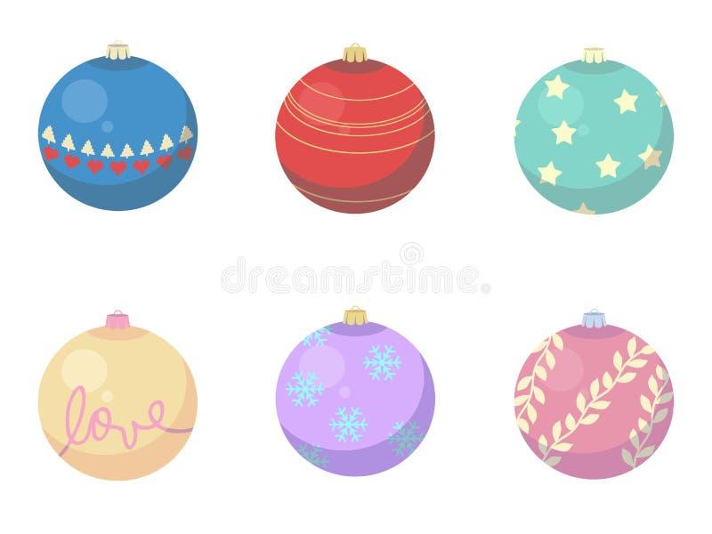 Διανυσματικό μίγμα των διαφορετικών διακοσμήσεων δέντρων μπιχλιμπιδιών Χριστουγέννων ελεύθερη απεικόνιση δικαιώματος