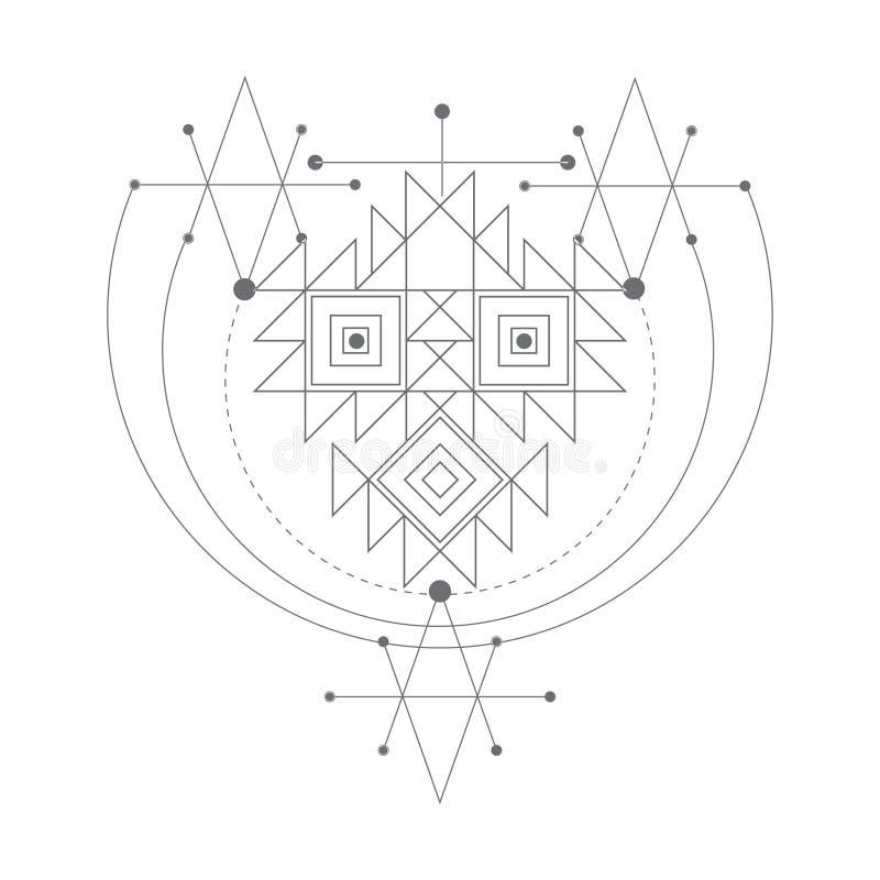 Διανυσματικό μαγικό σύμβολο αλχημείας γεωμετρικό λογότυπο για την πνευματικότητα, τον αποκρυφισμό, την τέχνη δερματοστιξιών και τ απεικόνιση αποθεμάτων