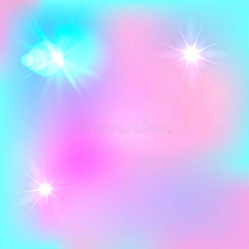 Διανυσματικό μαγικό υπόβαθρο Farytale, χαριτωμένο σκηνικό, ανοικτό μπλε και ρόδινος ελεύθερη απεικόνιση δικαιώματος