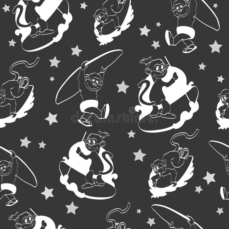 Διανυσματικό μαύρο άσπρο σερφ πιθήκων άνευ ραφής ελεύθερη απεικόνιση δικαιώματος