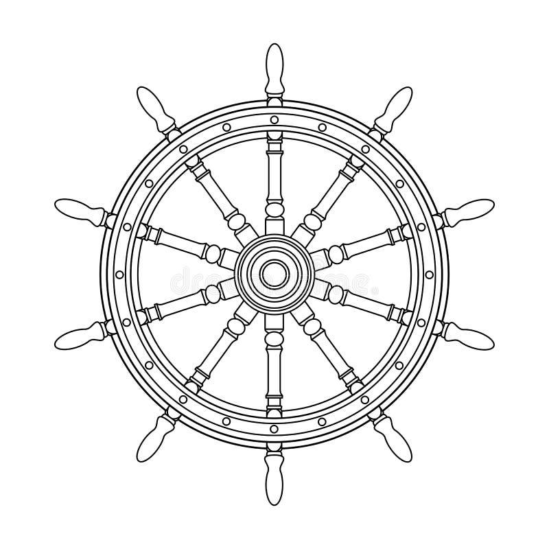 Διανυσματικό μαύρο, άσπρο handwheel βαρκών, τιμόνι ροδών σκαφών απεικόνιση αποθεμάτων