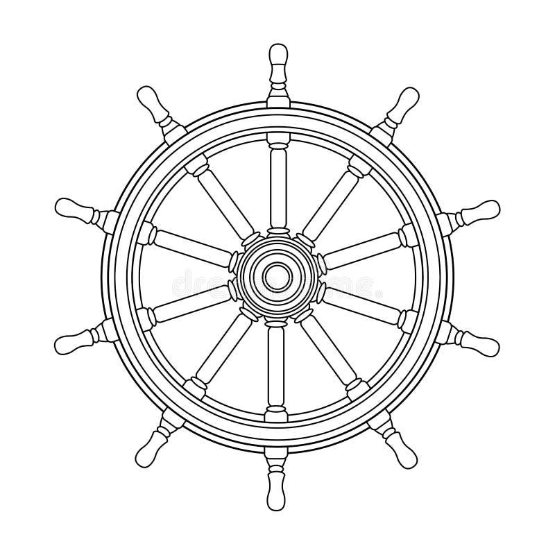 Διανυσματικό μαύρο, άσπρο handwheel βαρκών, τιμόνι ροδών σκαφών ελεύθερη απεικόνιση δικαιώματος