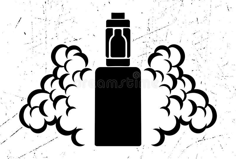 Διανυσματικό μαύρο έμβλημα του ηλεκτρονικού τσιγάρου με τον ατμό σε ένα φορεμένο ή γρατσουνισμένο υπόβαθρο ελεύθερη απεικόνιση δικαιώματος