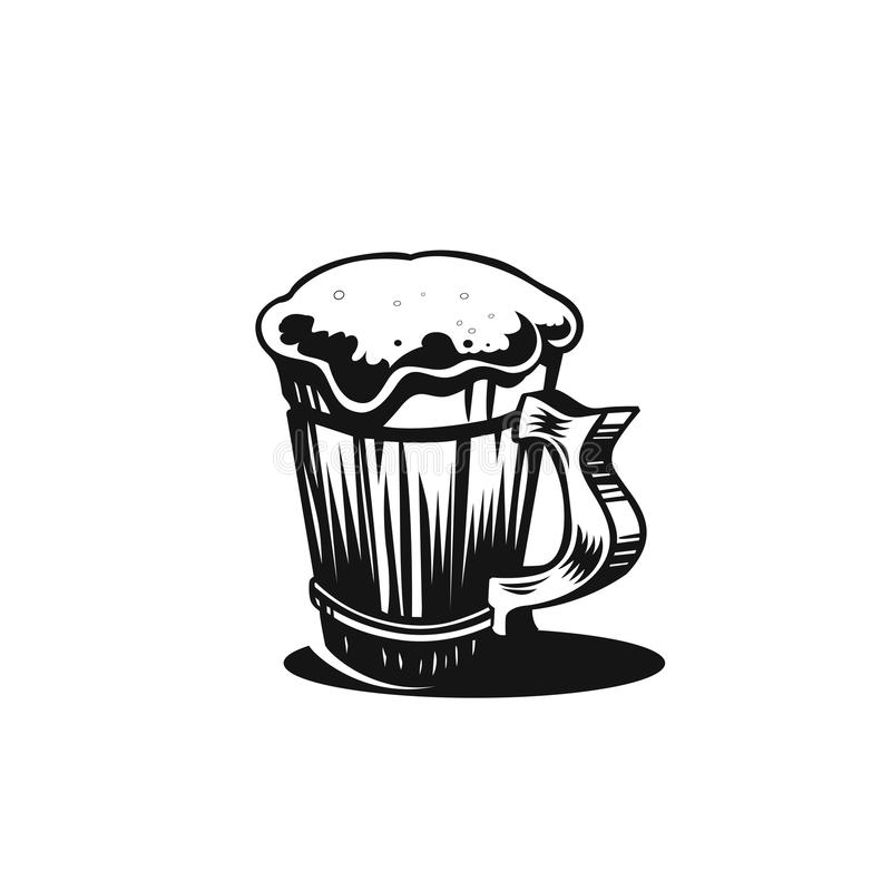 Διανυσματικό μαύρο εικονίδιο μπύρας απεικόνιση αποθεμάτων