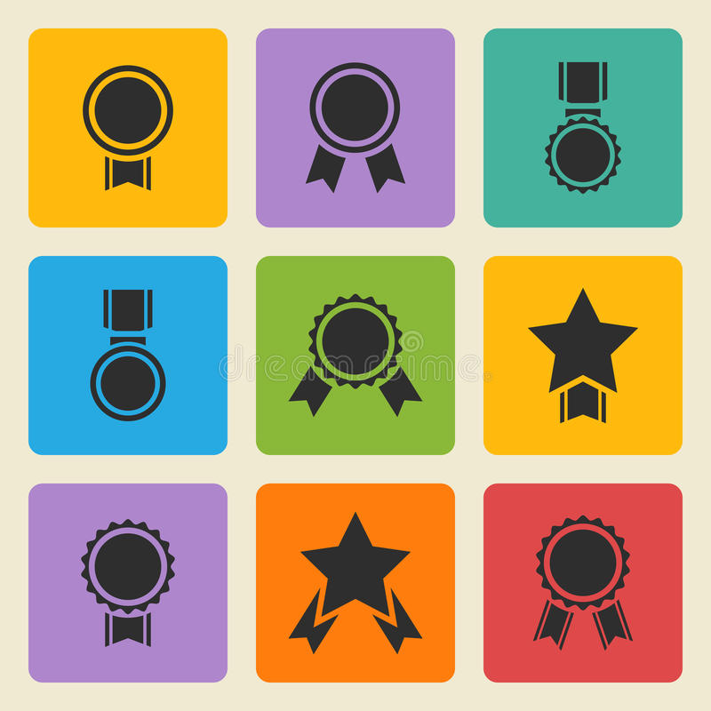 Διανυσματικό μαύρο μετάλλιο, εικονίδια βραβείων καθορισμένα διανυσματική απεικόνιση