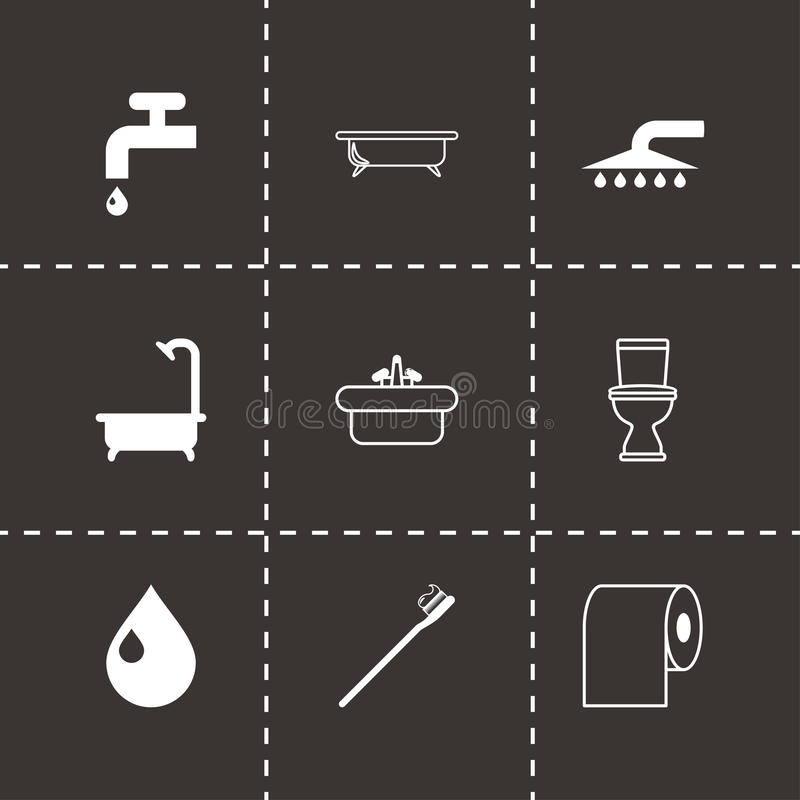 Διανυσματικό μαύρο σύνολο εικονιδίων λουτρών ελεύθερη απεικόνιση δικαιώματος