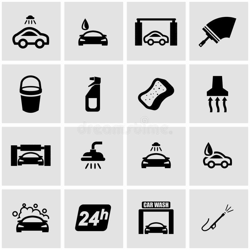 Διανυσματικό μαύρο σύνολο εικονιδίων πλυσίματος αυτοκινήτων απεικόνιση αποθεμάτων