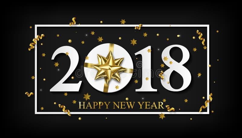 Διανυσματικό μαύρο υπόβαθρο καλής χρονιάς του 2018 με το χρυσό τόξο δώρων διανυσματική απεικόνιση