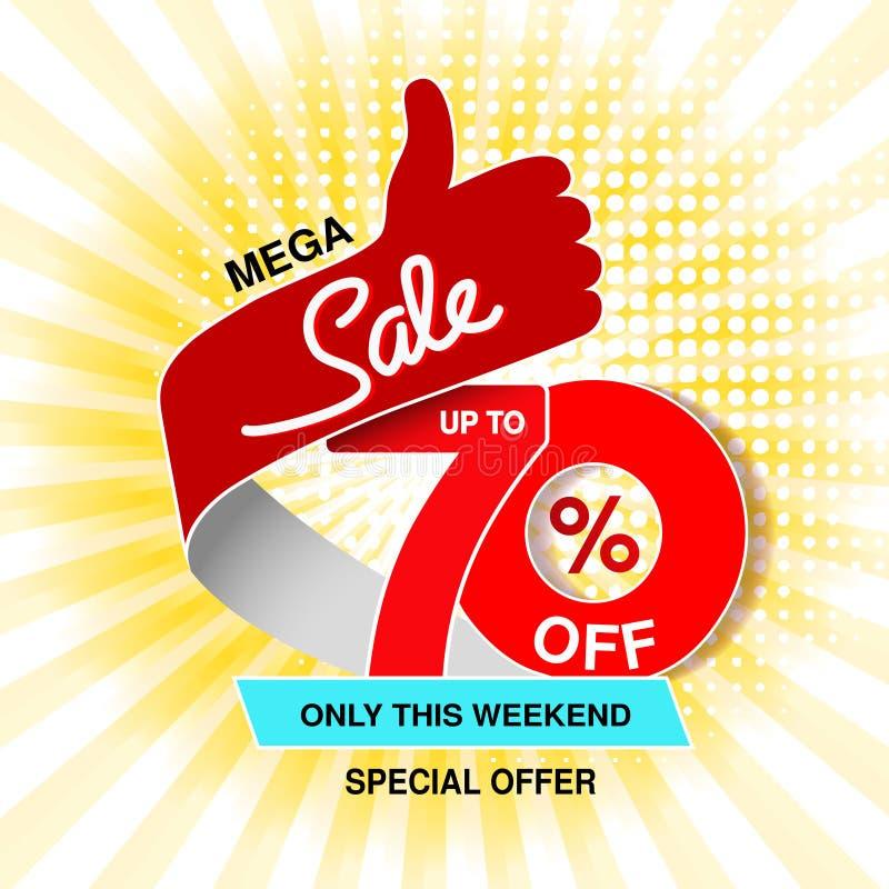 Διανυσματικό μεγάλο έμβλημα πώλησης Μέγα πώληση, μέχρι 70 μακριά Κόκκινη μπλε ειδική προσφορά μόνο αυτό το Σαββατοκύριακο Σχέδιο  ελεύθερη απεικόνιση δικαιώματος