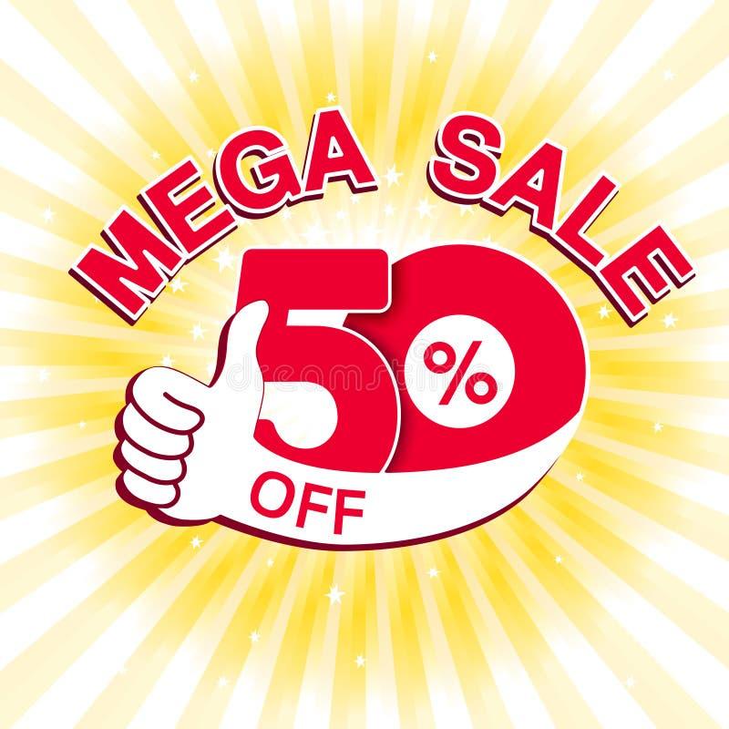 Διανυσματικό μεγάλο έμβλημα πώλησης Μέγα πώληση με 50 μακριά Κόκκινη ειδική προσφορά με το καλύτερο σύμβολο επιλογής στο κίτρινο  διανυσματική απεικόνιση
