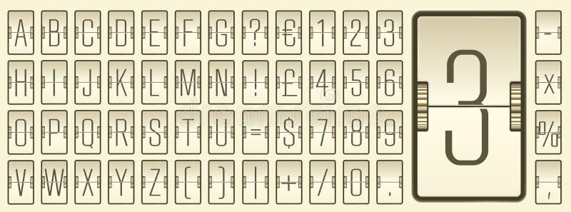 Διανυσματικό μηχανικό ελαφρύ αλφάβητο πινάκων κτυπήματος αερολιμένων με τους αριθμούς για την αναχώρηση πτήσης ή την παρουσίαση π διανυσματική απεικόνιση