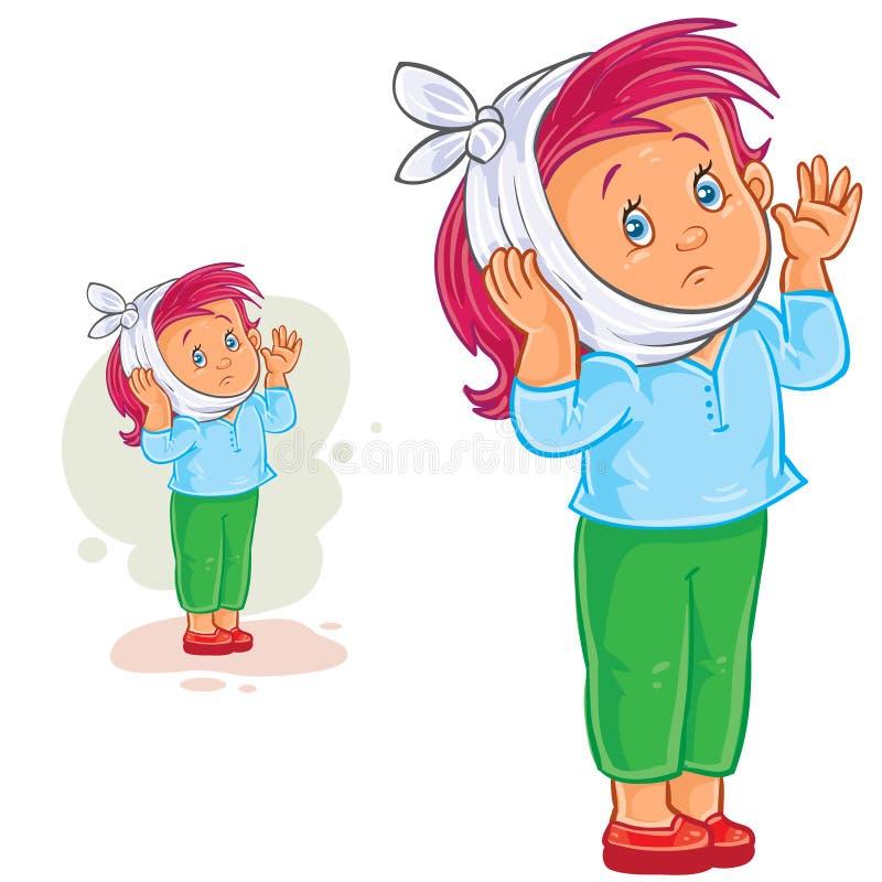 Διανυσματικό μικρό κορίτσι με τον πονόδοντο και τη θερμαίνοντας συμπίεση απεικόνιση αποθεμάτων