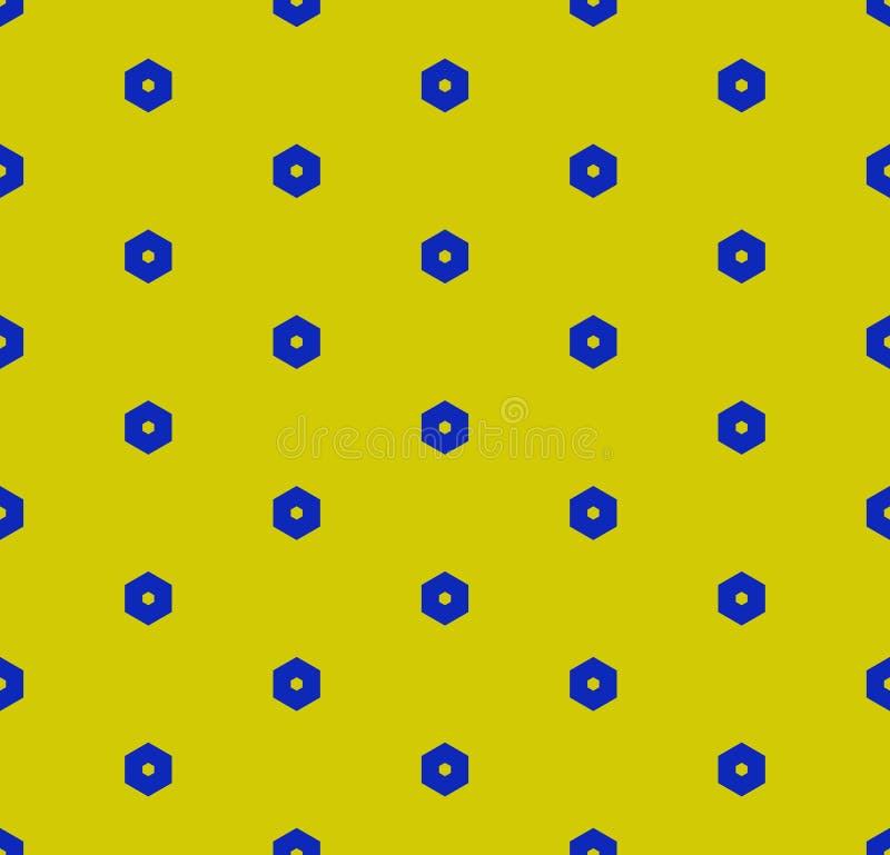 Διανυσματικό μινιμαλιστικό γεωμετρικό άνευ ραφής σχέδιο με μικρά hexagons Πράσινος και μπλε ελεύθερη απεικόνιση δικαιώματος