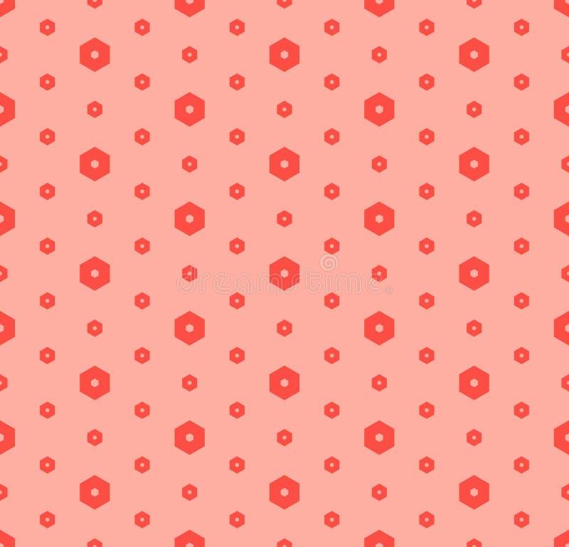Διανυσματικό μινιμαλιστικό γεωμετρικό άνευ ραφής σχέδιο με μικρά hexagons Ροζ και κόκκινο διανυσματική απεικόνιση