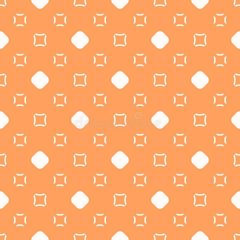 Διανυσματικό μινιμαλιστικό πορτοκαλί και άσπρο άνευ ραφής σχέδιο με τους κύκλους και τα τετράγωνα ελεύθερη απεικόνιση δικαιώματος