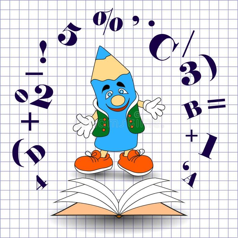 Διανυσματικό μολύβι διασκέδασης κινούμενων σχεδίων με ένα σημειωματάριο και αριθμοί, απεικόνιση στο ύφος doodle Έμβλημα εκπαίδευσ διανυσματική απεικόνιση