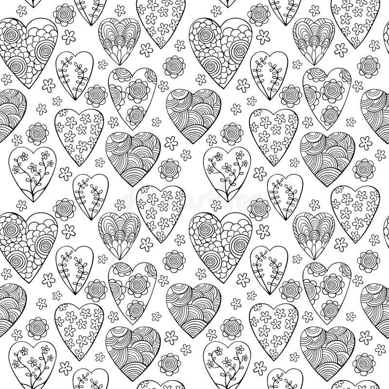 Διανυσματικό μονοχρωματικό άνευ ραφής σχέδιο των καρδιών με τα λουλούδια Το καλύτερο για την ημέρα των βαλεντίνων, το γάμο και το στοκ εικόνα