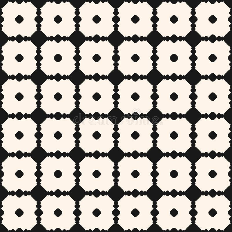Διανυσματικό μονοχρωματικό γεωμετρικό άνευ ραφής σχέδιο με τους κύκλους, σημεία, χαρασμένο δικτυωτό πλέγμα ελεύθερη απεικόνιση δικαιώματος