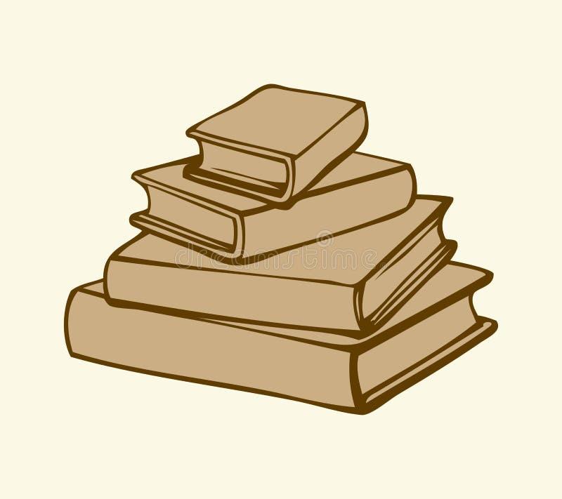 Διανυσματικό μονοχρωματικό σκίτσο απομονωμένη βιβλία στοίβα σειράς ελεύθερη απεικόνιση δικαιώματος