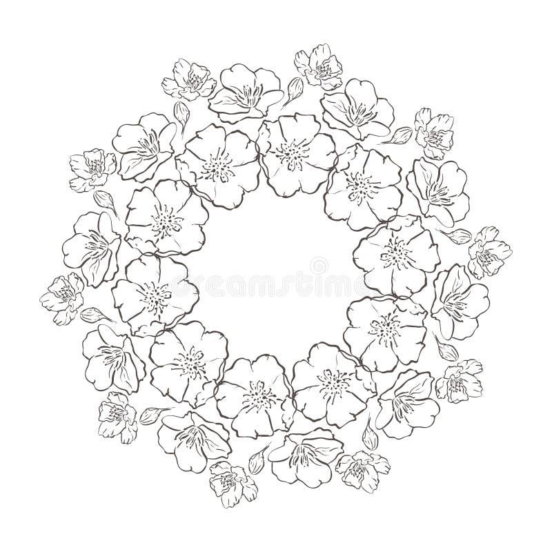 Διανυσματικό μονοχρωματικό Floral υπόβαθρο Συρμένη χέρι διακόσμηση με το Floral στεφάνι Πρότυπο για τη ευχετήρια κάρτα υπόβαθρο μ απεικόνιση αποθεμάτων