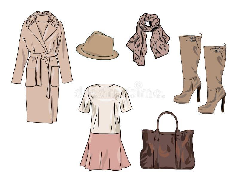 Διανυσματικό μοντέρνο σύνολο μόδας φθινοπώρου γυναικών ` s, άνοιξης ή χειμερινών ενδυμάτων και εξαρτημάτων Περιστασιακή ζωηρόχρωμ διανυσματική απεικόνιση