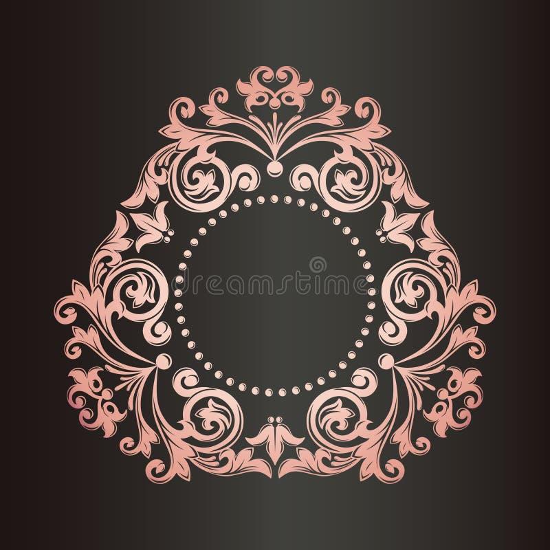 Διανυσματικό μονόγραμμα Εκλεκτής ποιότητας πλαίσιο τέχνης Χρυσή διακόσμηση φύλλων σύνορα διανυσματική απεικόνιση