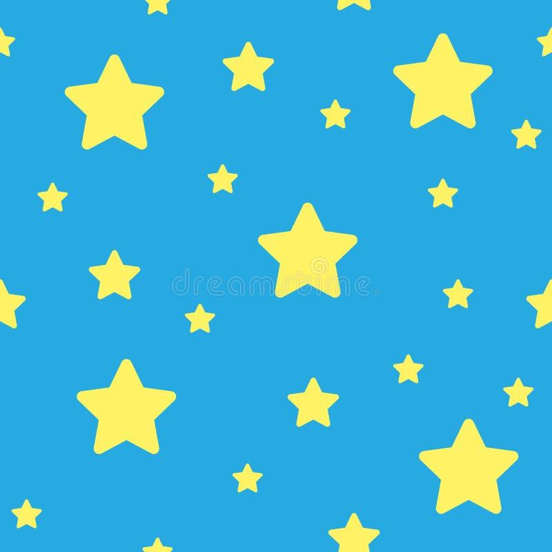 Διανυσματικό μπλε άνευ ραφής σχέδιο αστεριών Υπόβαθρο αστεριών βασισμένο στα τυχαία στοιχεία για την υψηλή έννοια καθορισμού ελεύθερη απεικόνιση δικαιώματος